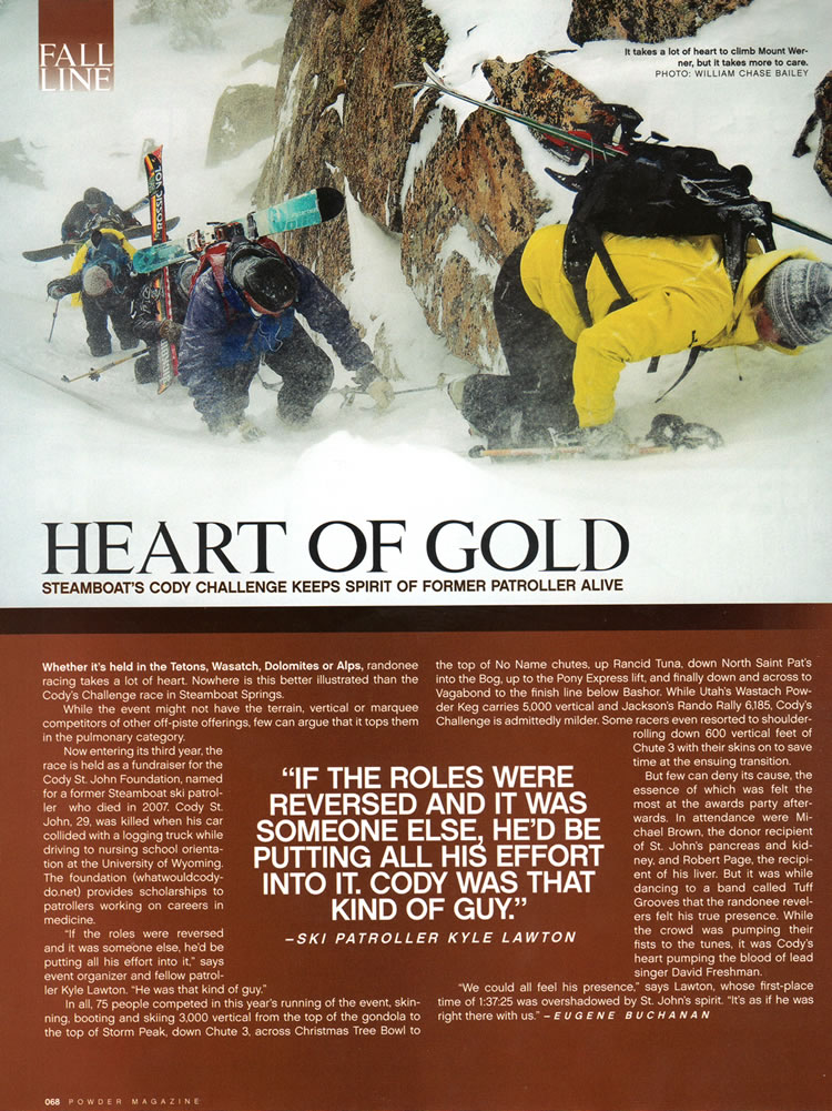 Powder Magazine Nov 2010 Codys Challenge - Heart of Gold